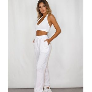 Tall White Oversized Lounge Joggers